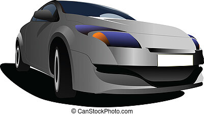 Car sedan on the road. Vector illu