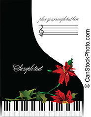 Template greeting card with piano and flower or cover for...