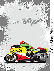 Grunge gray background with motorc