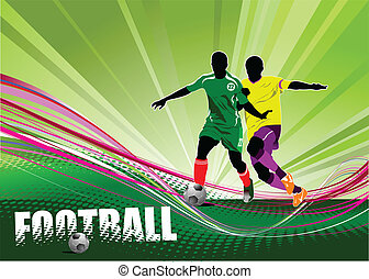 Poster of football player soccer Colored Vector illustration...