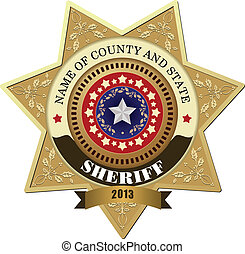 Sheriffs badge on a white background
