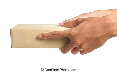 isolated parcel - hand holding parcel, wrapped in brown...