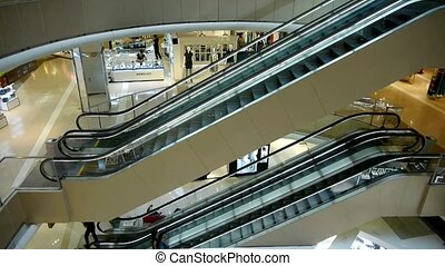 elevator in the shopping malls scene,modern city...