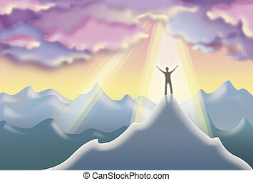 On Top Of The World - XXL illustration of a man on top of a...