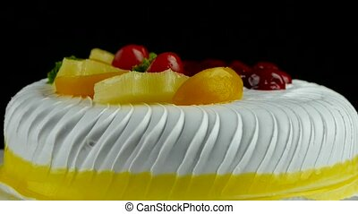 delicious fruit cake,cherry,tomato,pineapple.