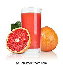 pink grapefruit juice - Glass of pink grapefruit juice...