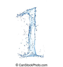 "Water splashes number ""1"" isolated on white background"