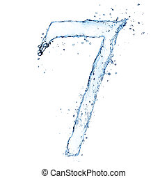Water splashes number quot;7quot; isolated on white...