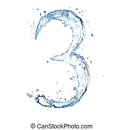 Water splashes number quot;3quot; isolated on white...
