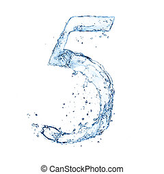 Water splashes number quot;5quot; isolated on white...