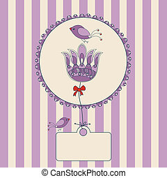 flower label with purple and white striped background and...