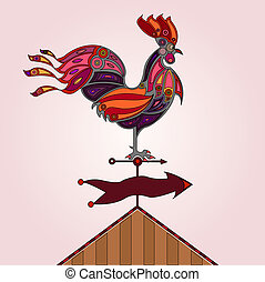 crowing rooster - red, pink and orange colored stylized...