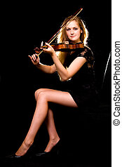 Violinist - Full body of a beautiful woman with long blond...