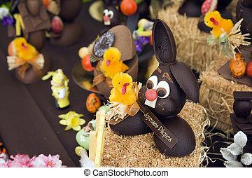 Easter bunnies - Chocolate Easter bunnies on display