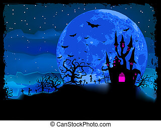 Halloween poster with zombie background. EPS 8 vector file...