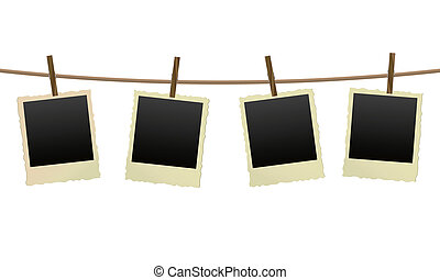 old photo frames on a clothesline
