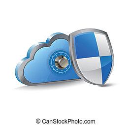 seguro, nube, informática