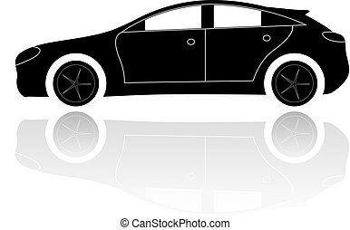 A silhouette of a car with reflection