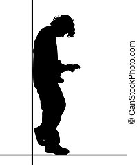 Guitar Player - Black silhouette of Guitar Player, vector...