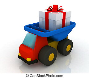 toy truck drives a gift