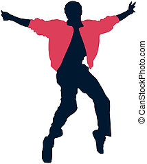 Elvis - Singing Elvis Presley black silhouette, vector...