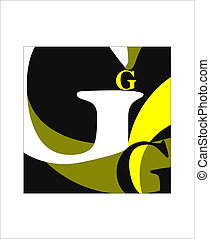 Big G - Large five Latin letters G, vector illustration