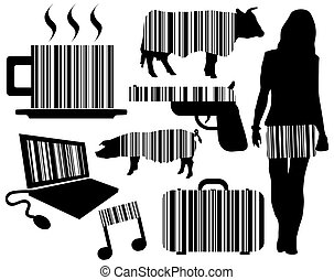 Barcode elements - Illustrations of objects with integrated...
