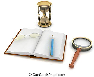 open book with a hourglass and glasses on white background