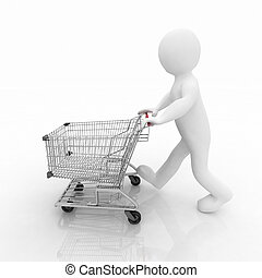 3d man rolls the shopping cart