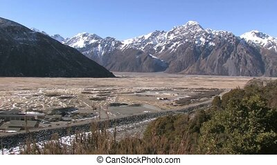 View over the valley of Mt. Cook - Panoramic views over Mt....