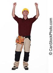 Tradesman rejoicing