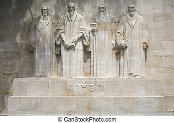 Reformation wall in Geneva - The four reformists...