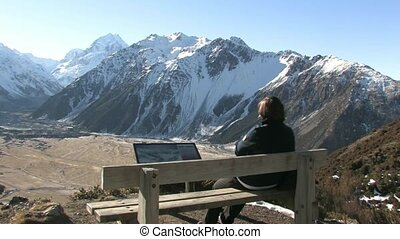 View red tarns track to Mt Cook - Tramper looking out over...