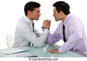 Homens negócios, braço, Wrestling