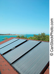 Solar panels on the roof - Solar water heating panels on the...