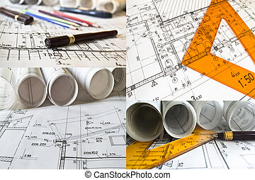 Collection and collage of architectural projects and rolls