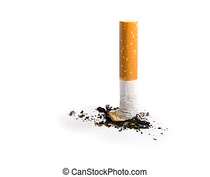 Cigarette butt isolated on white. Stop smoking concept