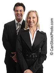 Businessman and Businesswoman - Smiling businessman and...