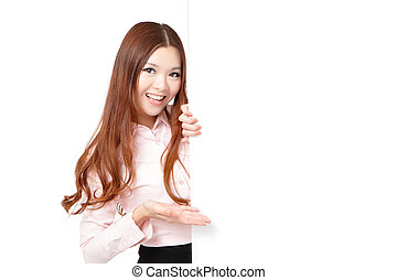 Business Woman Happy Showing blank billboard - Young...