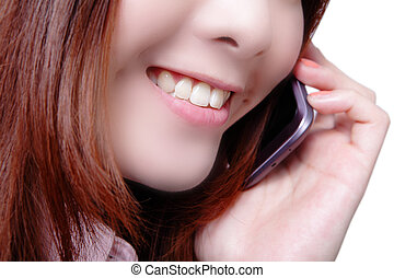 Business woman speaking phone close up
