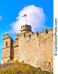 Lincoln Castle - One of the corner turrets and ramparts of...