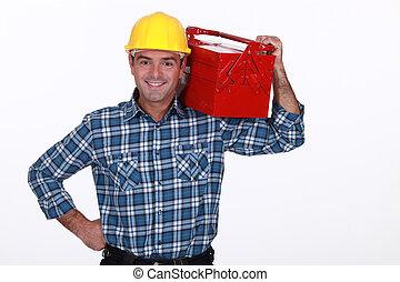 hombre, caja de herramientas, el suyo, hombro