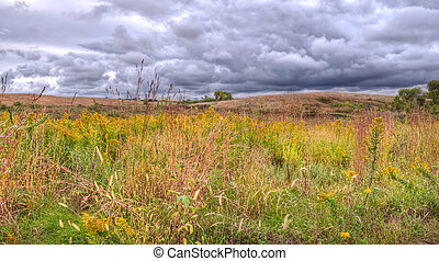 Storm over the Prairies - Ugly stormclouds on the horizon,...