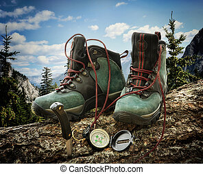 Pair of hiking boots with compass on fallen tree trunk