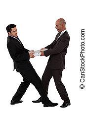 Businessmen arguing, studio shot