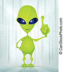 Cute Alien - Cartoon Character Funny Alien on Digital...