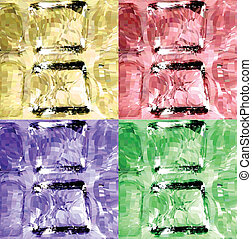 Set colorful ice cubes Vector background - Close-up of ice...