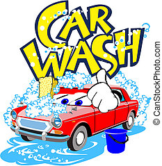 Car wash service - Illustration of alive car wash service...