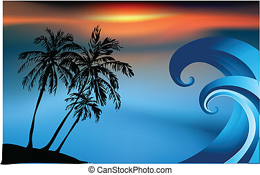 Tropical island and ocean wave