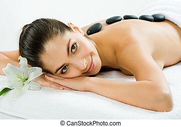 In the spa salon